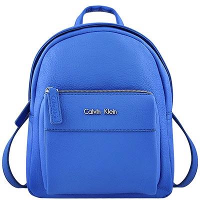 Calvin Klein 藍色皮革壓紋後背包