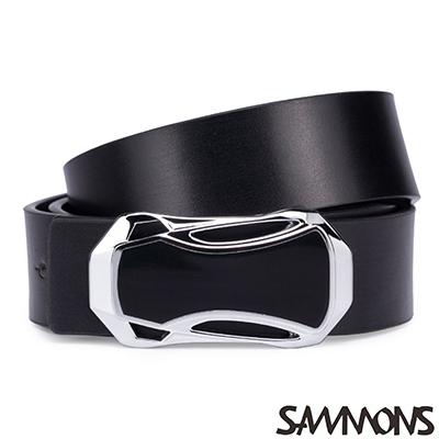 SAMMONS 真皮奧地利造型皮帶 紳士黑