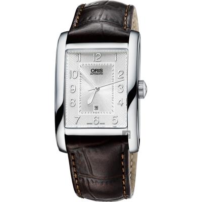 Oris豪利時 Rectangular 日期顯示機械腕錶-銀x咖啡/30mm