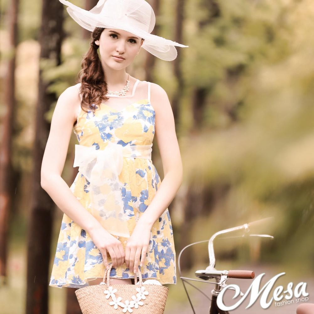 全尺碼花朵連身宴會洋裝禮服-Mesa