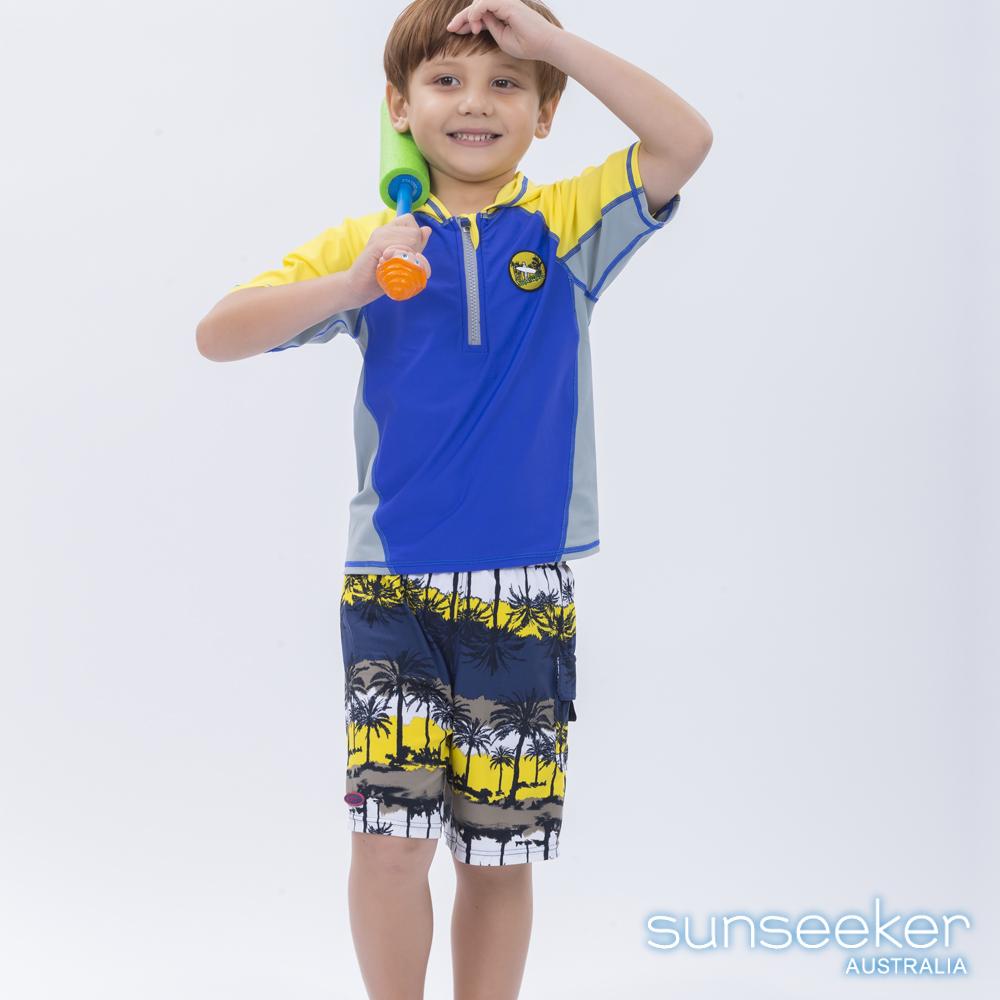 澳洲Sunseeker泳裝抗UV防曬短袖泳衣+泳褲-小男童兩件式泳衣組/椰林黃