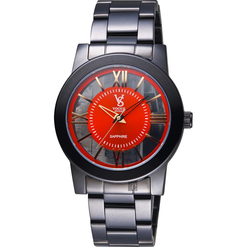 VOGUE 曼波系列鏤空藝術腕錶-紅x黑/38mm