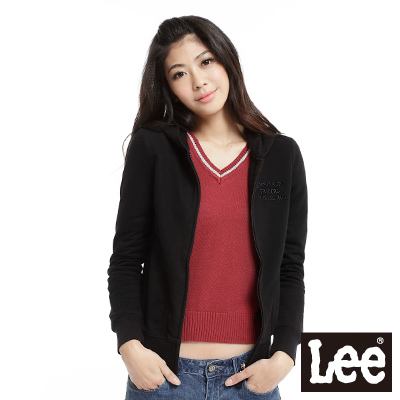 Lee-刺繡字樣連帽長袖拉鍊外套-女款-黑