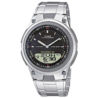 CASIO 都會時尚雙顯腕錶(AW-80D-1A)-黑/40mm