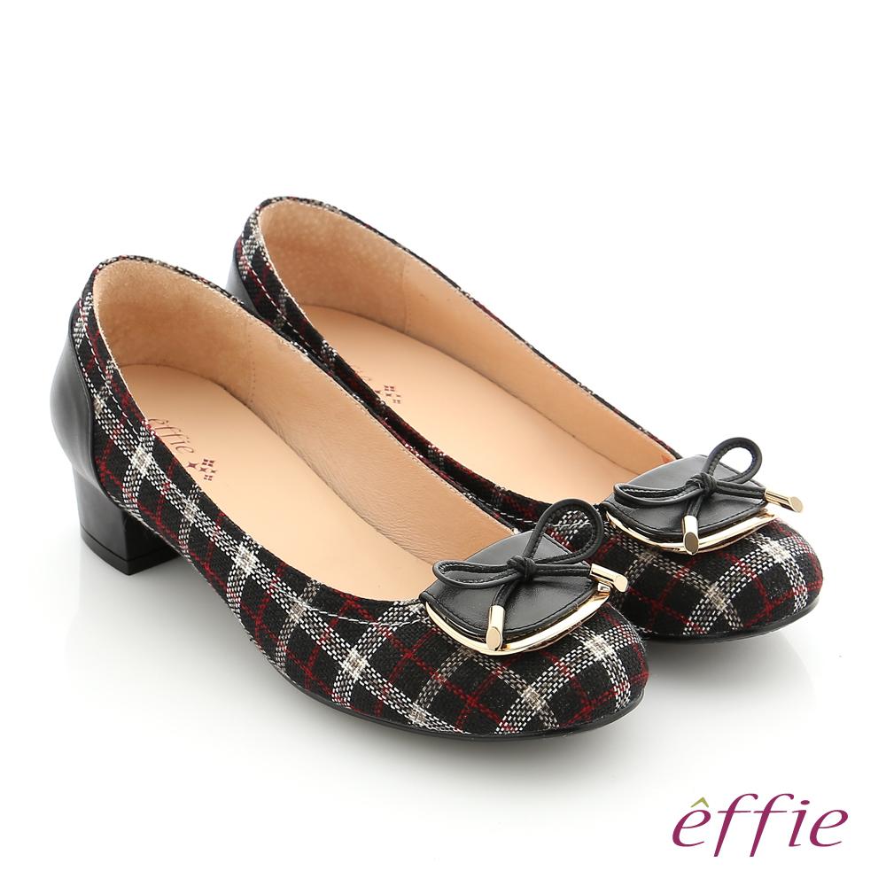 effie 個性美型 真皮蝴蝶結飾釦格紋低跟鞋 黑色