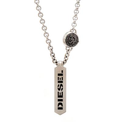 DIESEL 銀色冷冽LOGO長方形項鍊