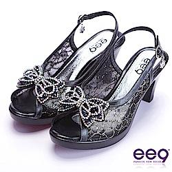 ee9 驚豔美人異材質交錯鑲鑽蝴蝶結魚口粗跟涼鞋 黑色