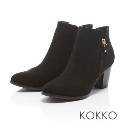 KOKKO - 極簡顯瘦拉鍊真皮粗高跟踝靴 - 霧黑