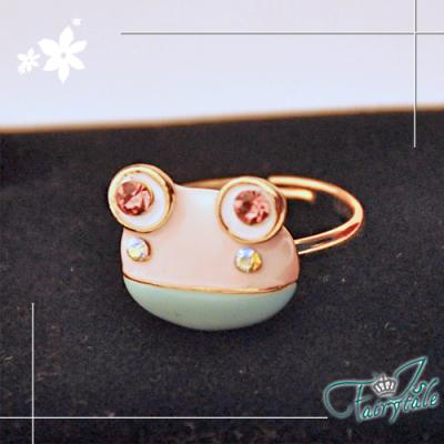 iSFairytale伊飾童話-青蛙王子-粉鑽彈性戒指