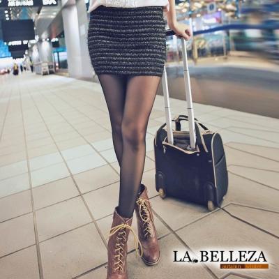 【La Belleza】橫條金銀黑線配色針織包臀窄裙