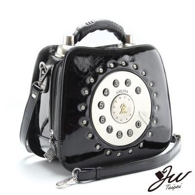 JW光速傳情造型電話手肩側包-經典黑-快