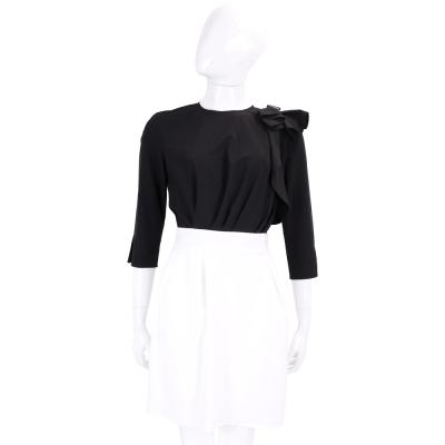 ELISABETTA FRANCHI 可拆式 雪紡抓摺蝴蝶結飾黑白拼接七分袖洋裝