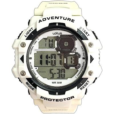 Lotus 戶外行家大徑面計時運動錶(TP1334M-02)-白/52m