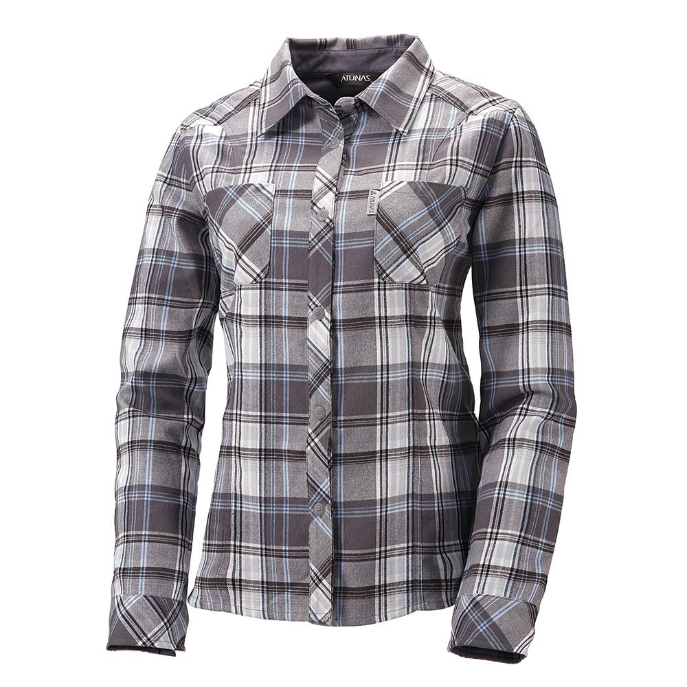 【ATUNAS 歐都納】女款保暖彈性長袖襯衫 A-S1111W 灰格