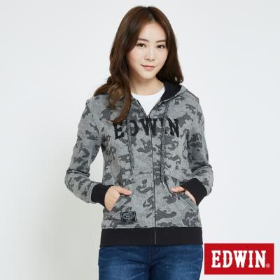 EDWIN 迷彩修紋連帽拉T外套-女-灰色