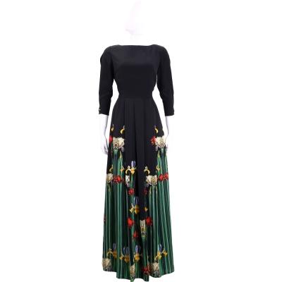 CLASS roberto cavalli 黑色花朵圖案長裙絲質洋裝
