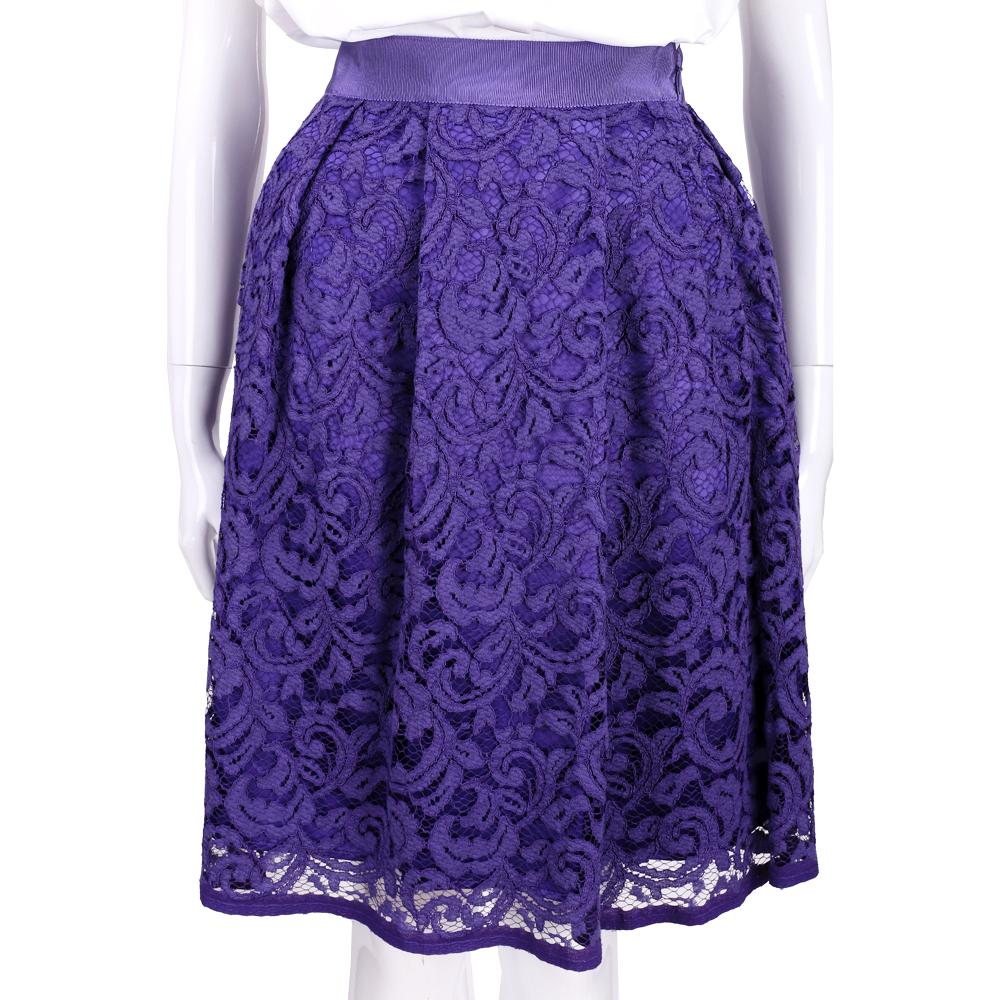 ALBERTA FERRETTI 紫色蕾絲及膝裙