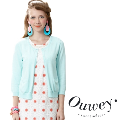 OUWEY歐薇-蕾絲花朵縷空針織薄外套