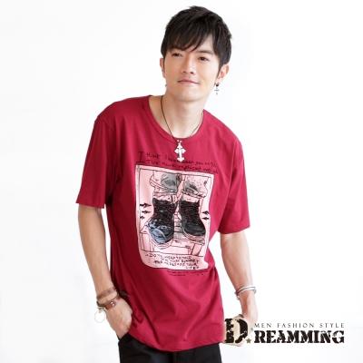 Dreamming-創意串珠鞋帶植絨印花萊卡短T