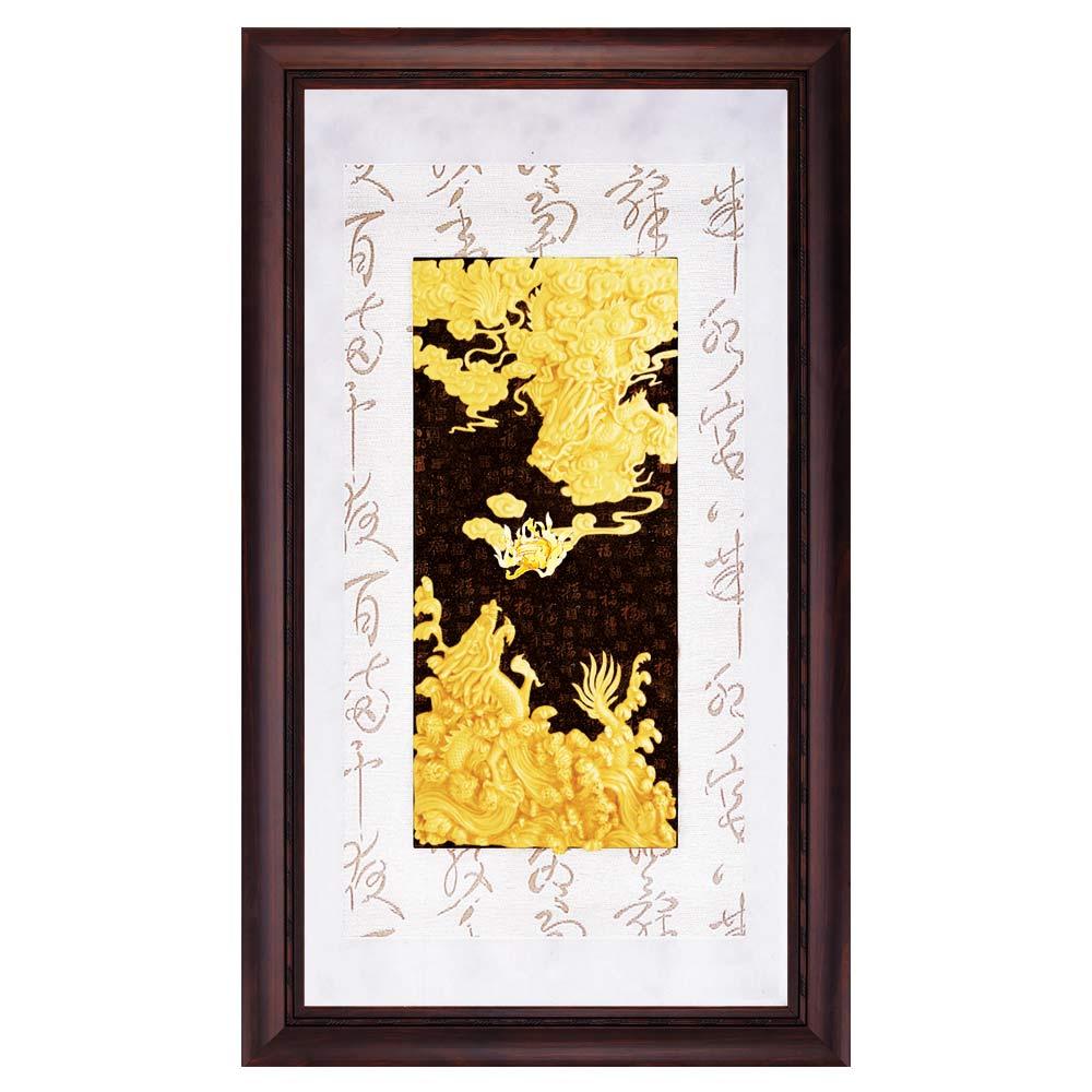 鹿港窯-立體金箔畫-祥龍獻瑞(彩金系列48x82cm)