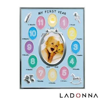 日本 LADONNA Baby 親親寶貝 週歲成長記錄相框-粉藍