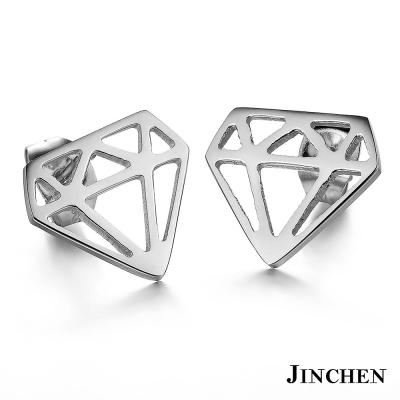 JINCHEN 白鋼鑽石耳環 銀色