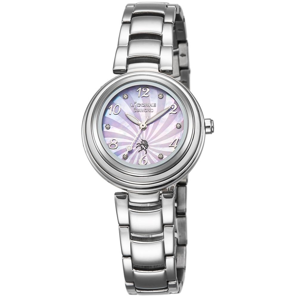 LICORNE 永恆時光真鑽系列 浪漫貝面晶鑽手錶-紫x銀/30mm