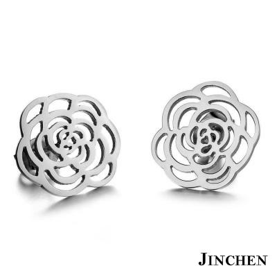 JINCHEN 白鋼薔薇耳環 銀色
