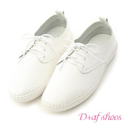 D+AF 樂活舒適.超軟縫線底休閒牛津鞋*白