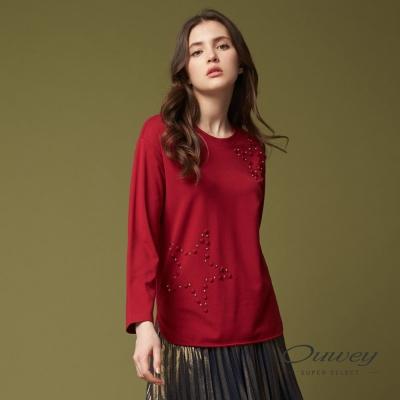 OUWEY歐薇 簡約時尚燙星上衣(紅)