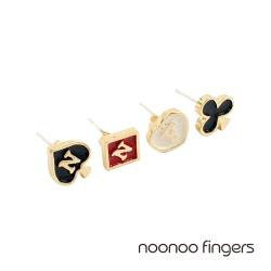 Noonoo Fingers Queen's NNF 皇后縮寫 耳環 套組