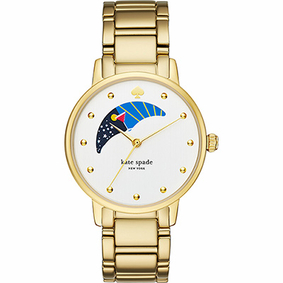Kate Spade Gramercy 阿波羅月相時尚腕錶-銀x金/34mm