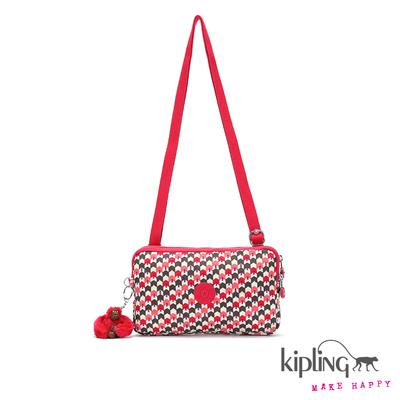 Kipling-斜背包-白底粉綠編織