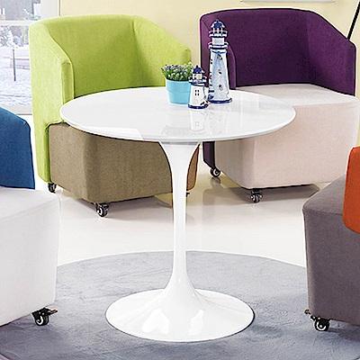 H&D 白色塑鋼造型圓桌 (寬80X深80X高72cm)