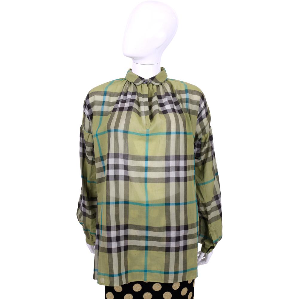 BURBERRY BRIT系列 綠色格紋棉質寬版長袖上衣