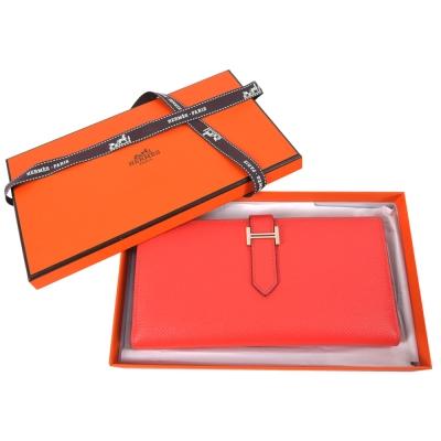 HERMES Epsom牛皮金色H穿式長夾(珊瑚紅/T5)