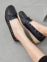 蝶結側縫線豆豆鞋