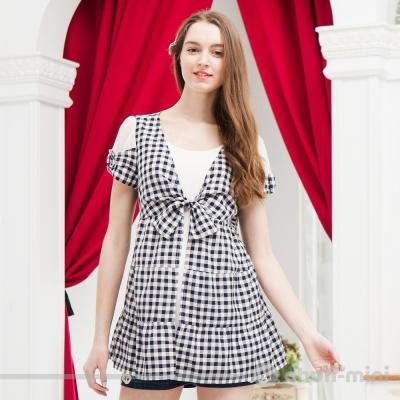 【ohoh-mini 孕婦裝】鄰家女孩格紋綁帶假兩件上衣(兩色)