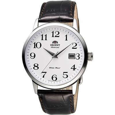 ORIENT 東方錶 DATE系列 復刻簡約機械錶-白x咖啡/41mm