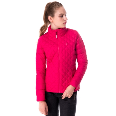 【hilltop山頂鳥】女款超撥水保暖蓄熱羽絨短大衣F22FU7紅