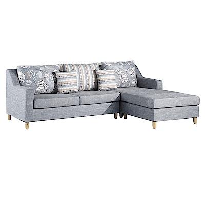品家居 喬雅灰亞麻布L型沙發(三人+凳)-250x174x88-免組