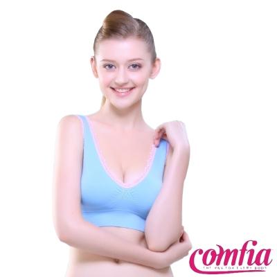 運動內衣 無痕雙色蕾絲款-藍色  COMFIA康裴亞