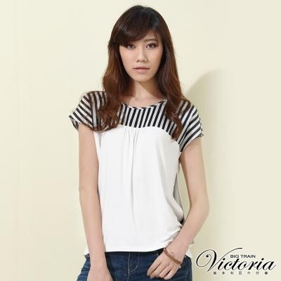Victoria 條紋剪接雪紡落肩袖T-女-白