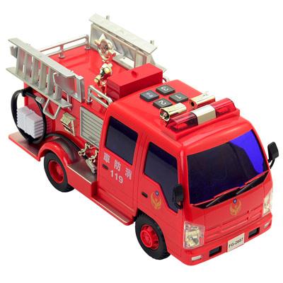 《救難車隊-消防車系列》燈光音效錄音功能磨輪消防車