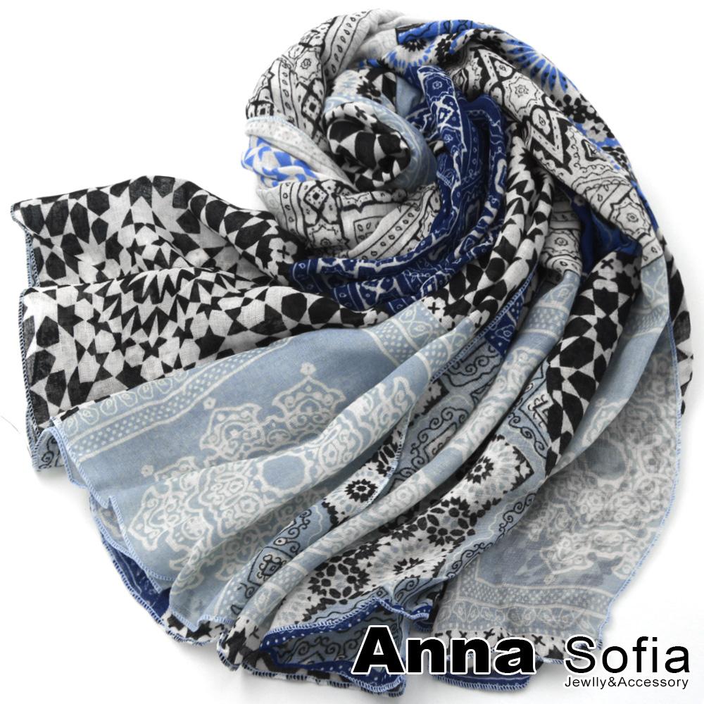 【2件450】AnnaSofia 魔幻花磚 拷克邊韓國棉圍巾披肩(藍系)