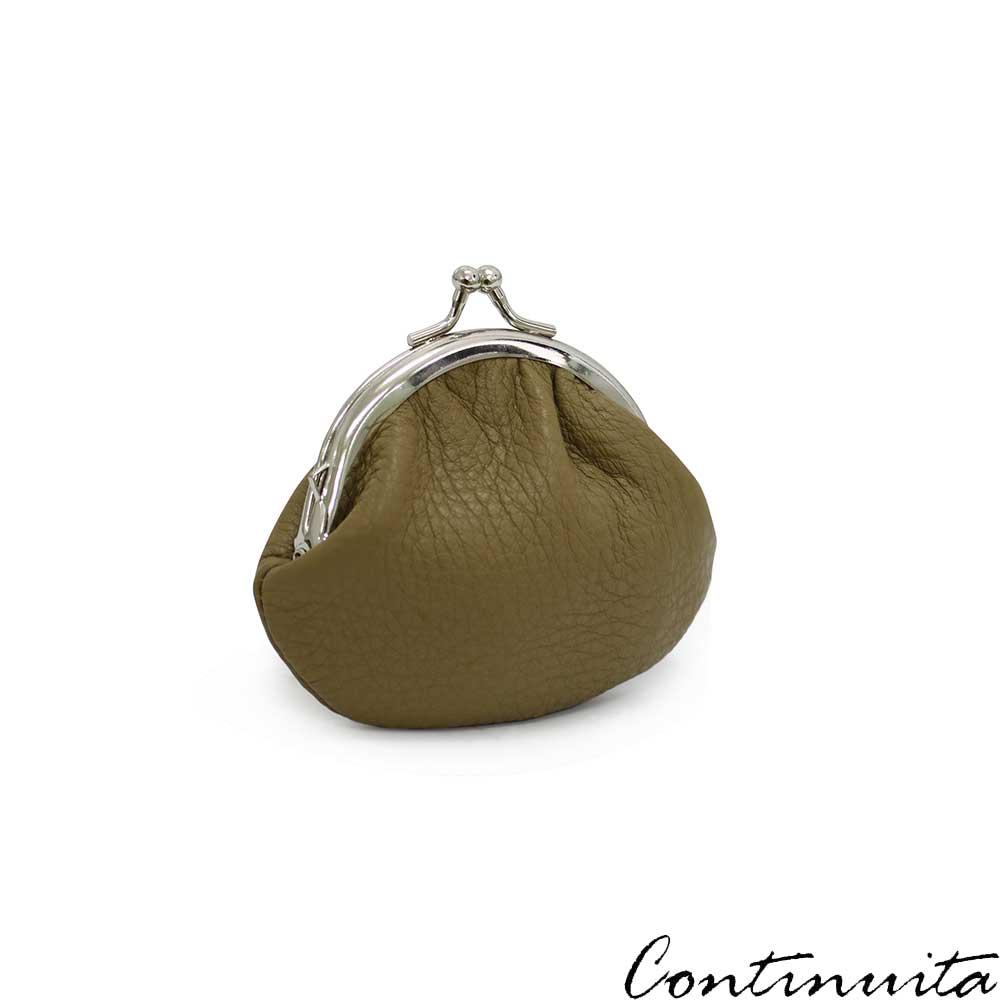 Continuita康緹尼頭層牛皮日本小巧金元寶圓弧零錢包-咖啡色