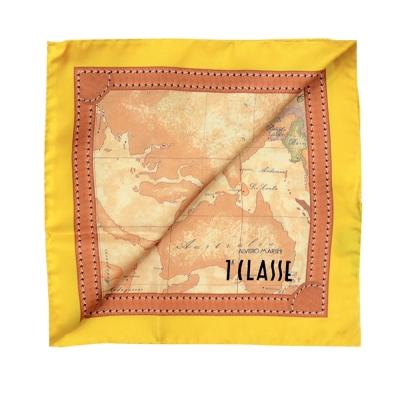 Alviero Martini 義大利地圖 經典地圖邊框配色方巾-黃(50X50)