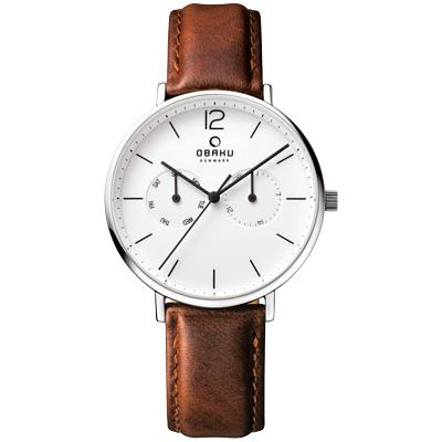 OBAKU  丹麥皇家簡約雙眼時尚腕錶-白x咖啡/40mm