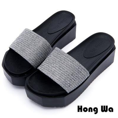 Hong Wa - 金屬科技感流行水鑽一字拖鞋 - 銀