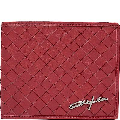 OBHOLIC 紅色編織義大利牛皮 短夾 皮夾 錢包